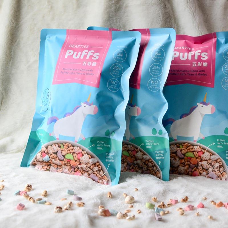 【Hearties-Puffs】五彩脆-石頭棉花糖與爆薏仁核桐麥(14克/6包/袋)x3袋
