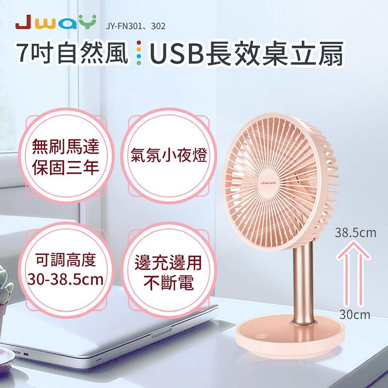 【JWAY】7吋自然風USB長效桌立扇 JY-FN301 / JY-FN302